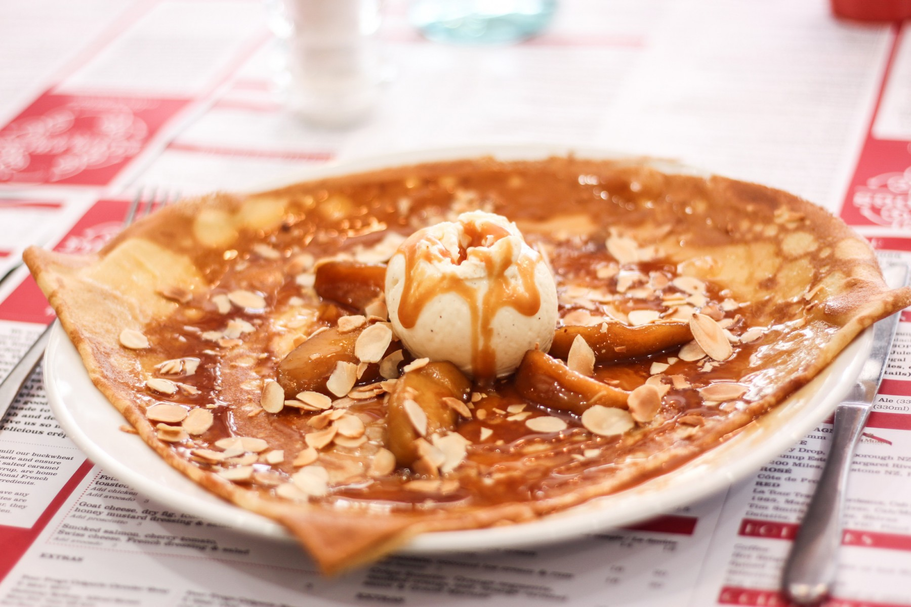 Apple caramel crepe
