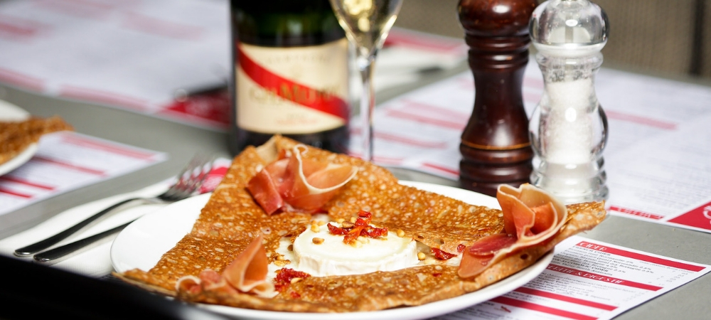 """Four Frogs Creperie - La """" Flammkuche"""" September special galette"""